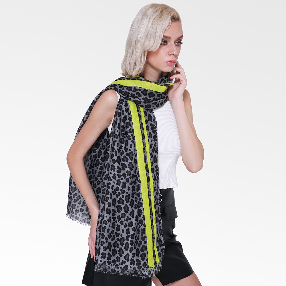 2018 Newest Fashion Neon Color Leopard Pattern Fringe   Scarves   Shawls Beautiful   Scarf     Wrap   Hijab Muffler 6 Color 10pcs/LOT