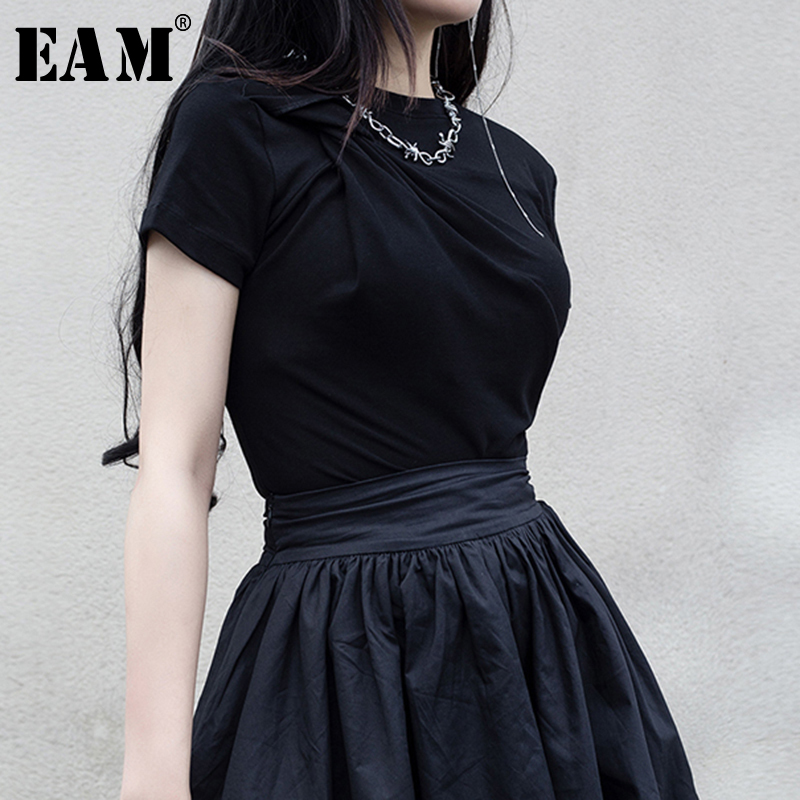[EAM] 2020 New Spring Summer Round Neck Short Sleeve Simple Temperament Knot Loose Short T-shirt Women Fashion Tide JX722