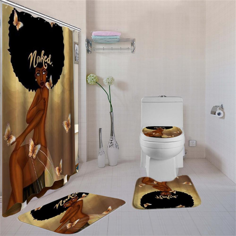 Image 4 - 4 Pcs African American Women Shower Curtain Bath Rug Sets Toilet Cover Bath Mat Set Bathroom Accessories Curtains With Hooks-in Shower Curtains from Home & Garden