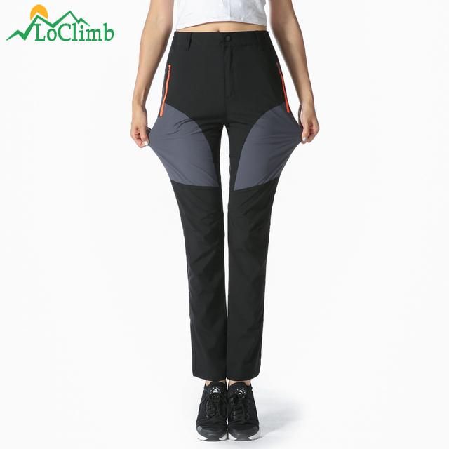 e8955f4e7 US $13.99 40% OFF|LoClimb Stretch Women's Summer Camping Hiking Pants Women  Outdoor Quick Dry Sports Trousers Tourism Cycling Trekking Pants AW165-in  ...