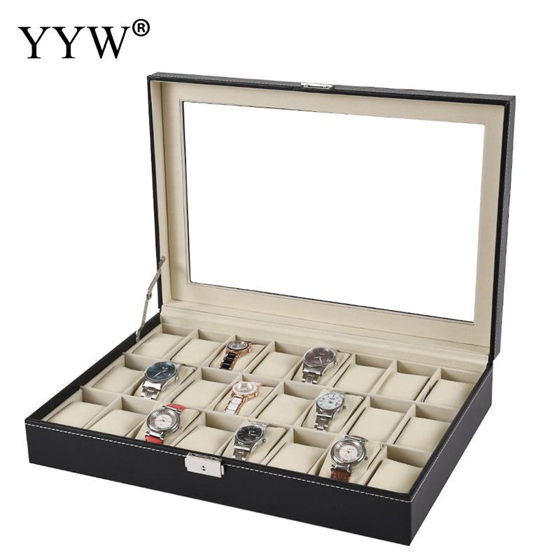 2 3 6 10 12 <font><b>20</b></font> <font><b>24</b></font> Grids PU Leather Watch Box Case Professional Holder Organizer for Clock Watches Jewelry Boxes Case Display image