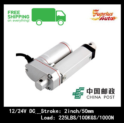 Free Shipping sell like hot cakes 12/24V DC , 2inch/50mm Linear Actuator , 225LBS/100KGS/1000N Load Linear Actuator Free Shipping sell like hot cakes 12/24V DC , 2inch/50mm Linear Actuator , 225LBS/100KGS/1000N Load Linear Actuator