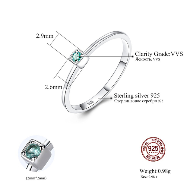 CZCITY Genuine 925 Sterling Silver VVS Green Topaz Wedding Rings for Women Minimalist Thin Circle Gem Rings Jewelry Carving S925