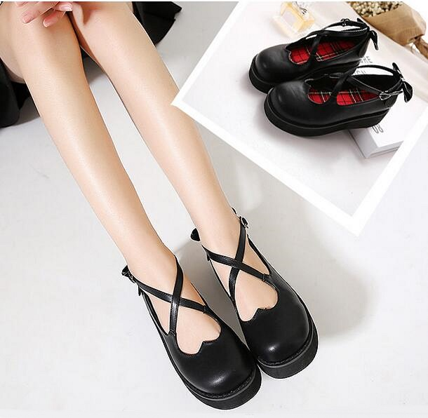 Women Bow Wedge Lolita Shoes 2017 New Black Strappy Shoes With Platform Ankle Buckle Ladies Pumps