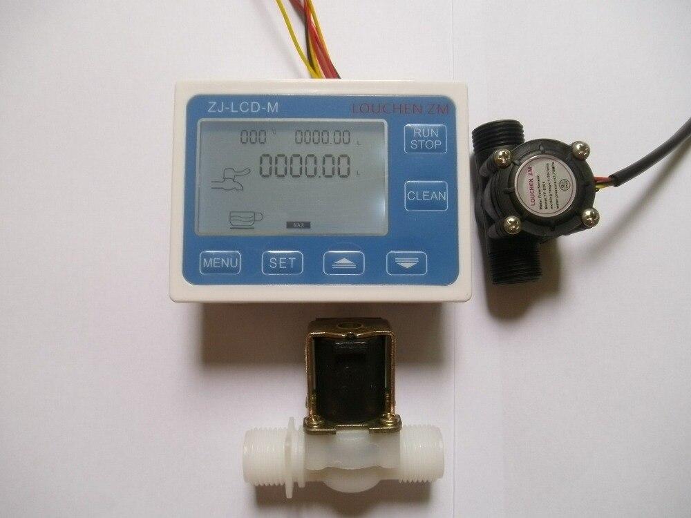 Durable Quality 1/2 Water Flow Control Meter LCD Display + Flow Sensor + Solenoid Valve light weight