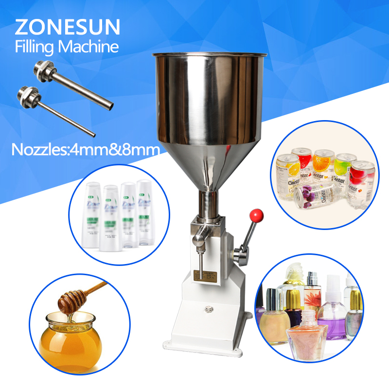 ZONESUN Handheld Manual Cosmetic Paste Liquid Filling Machine Cream Filler 5-50ml For Nail Polish Shampoo Cream Oil a03 new manual filling machine 5 50ml for cream