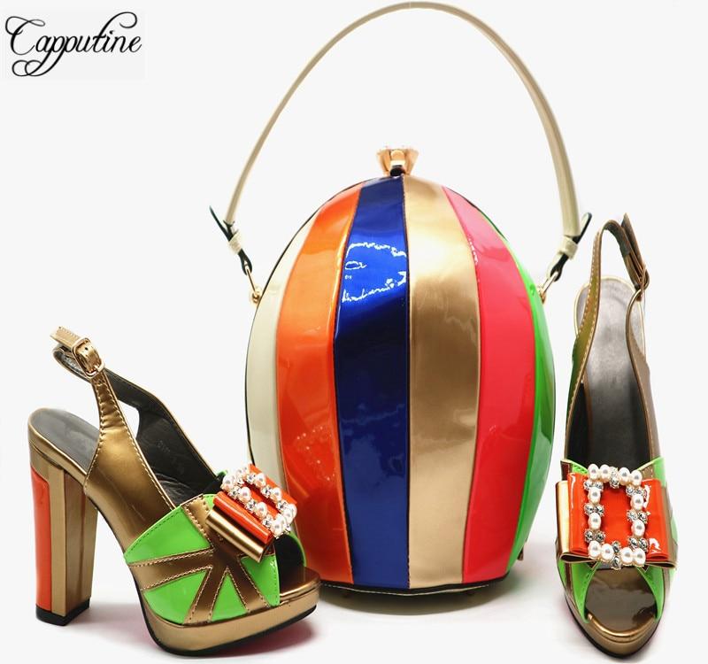 الأفريقية نمط عالية الكعب الأحذية و الكرة أكياس للحزب نيجيريا أنيقة الصيف امرأة مضخات الأحذية والحقائب مجموعة حجم 38 42 G55-في أحذية نسائية من أحذية على  مجموعة 1