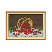 Fresh cherry fruit blue 11CT printing cloth 14CT sewing handmade furniture decorative accessories cross stitch paintings(China)