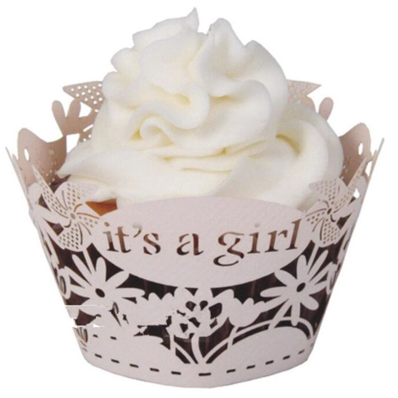 50pcs It's a <font><b>girl</b></font> <font><b>Cupcake</b></font> Wrappers, <font><b>Cup</b></font> cake Muffin Paper Wrapper Babyshow Children <font><b>Birthday</b></font> Party Home Decoration Supplies