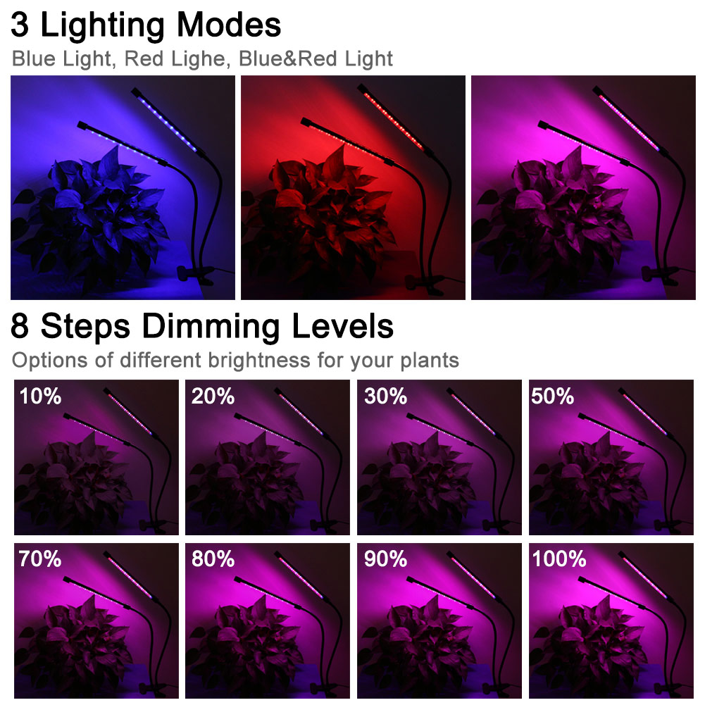 LED Plant Grow Light Lamp Dual Head For Indoor Greenhouse Flower Seed Gardening TN99