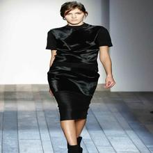 autumn/winter fashion celebrity women short-sleeve knitted fur sweater + slim bust skirt twinset black XL