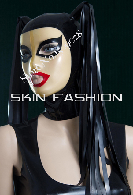 Free shipping ox horn braid hood latex masken in costume ox horn braid hood latex masken ccuart Image collections
