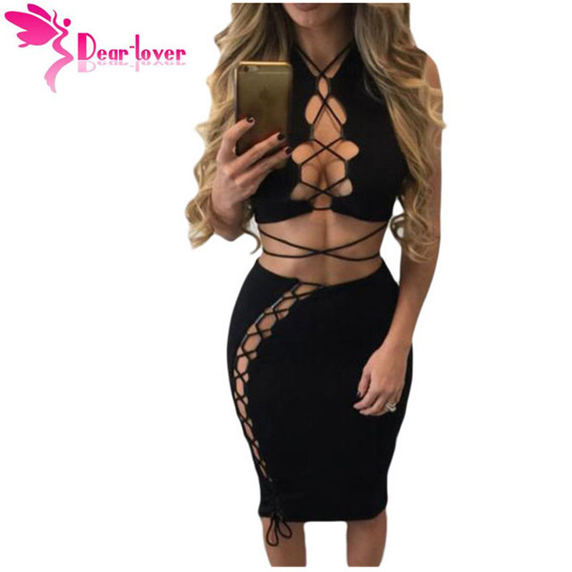 Dear Lover женская одежда костюм установить Черный Дерзкие Сексуальная Клуб 2 шт. Зашнуровать Вырезать Растениеводство Топ С Midi Юбка Установить Vestidos LC63020