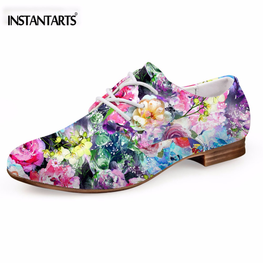 INSTANTARTS Fashion Galaxy Star Printed Leather Shoes for Women Summer Leisure Oxford Shoes Comfortable Flat Shoes for Ladies women s shoes 2017 summer new fashion footwear women s air network flat shoes breathable comfortable casual shoes jdt103