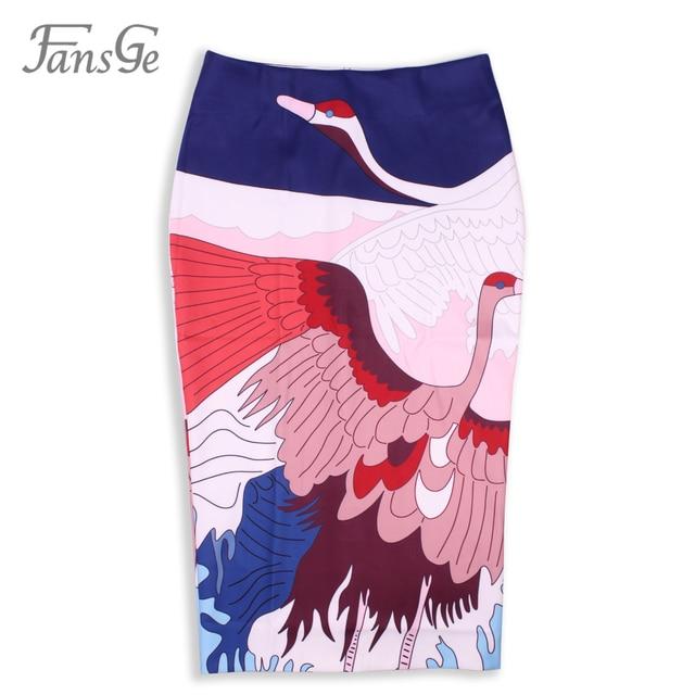 2017 Spring Fashion Women's Slim Fitting Vintage Ladies Sexy High Waist Knee-Length Midi Bodycon Stretch Printed Pencil Skirt