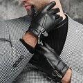 Luvas de couro dos homens zipper masculino couro genuíno luvas de pele de carneiro clássico Inglaterra formal festa inverno velo térmico forrado