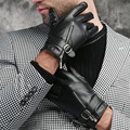 Men leather gloves zipper male genuine leather sheepskin classic England formal party gloves winter thermal fleece lined