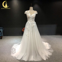 JIALINZEYI Real Picture Sexy Short sleeves with butterfly V Back Bridal Wedding Dresses wedding gown 2018