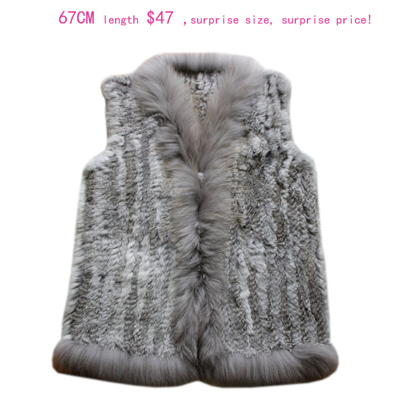 new Design Real Fur Vest Raccoon Dog Fur Collar Waistcoat Natural knitted Rabbit Fur Vest Gilet