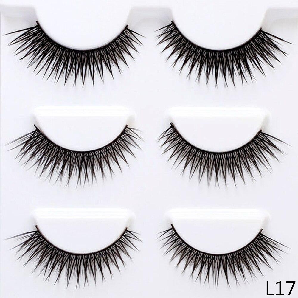 12mm Crisscross False Eyelashes 3 Pairs Fake Lashes Natural Long Thin Makeup Lashes Extension Eyelashes for Makeup L12