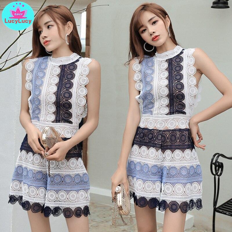 2019 New Holiday Hollow High Waist Sleeveless Slim Temperament Contrast Color Shirt Wide Leg Lace Jumpsuit