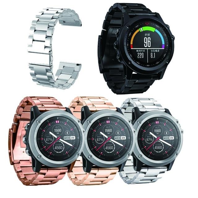 For Garmin Fenix 3 Watch Band, Universal Stainless Steel Watch Band Strap Bracel