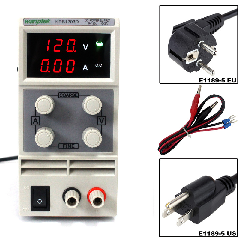 120V 3A DC Regulated Power High Precision Adjustable Supply Switch Power Supply Maintenance Protection Function KPS1203D