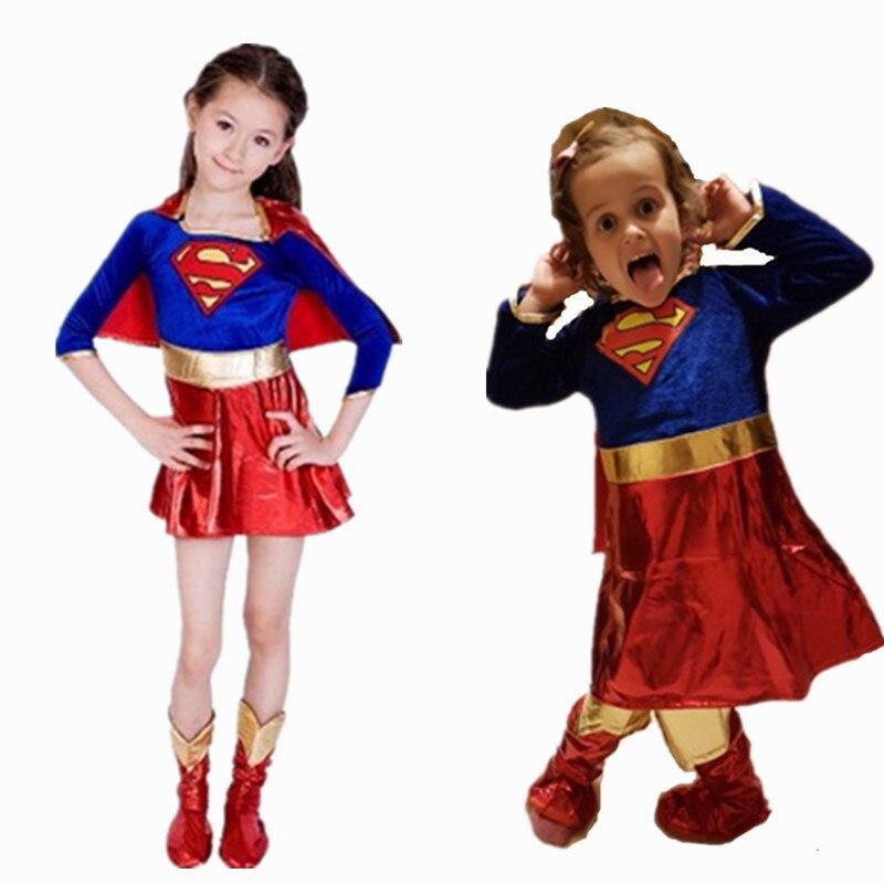 Children's Day Girls Supergirl Cosplay Costume Halloween Book Week Superman Super Girl Cosplay Fancy Dress