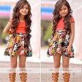 Crianças Do Bebê quente Meninas Vestido Curto Tee Camisa Flor Saia 2 Pcs Outfits Costume 1-6A