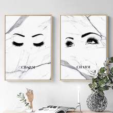 vogue Marble Sexy Woman Eyelash Nordic Posters And Prints Wall Art Canvas Painting Pop Pictures For Living Room Decor