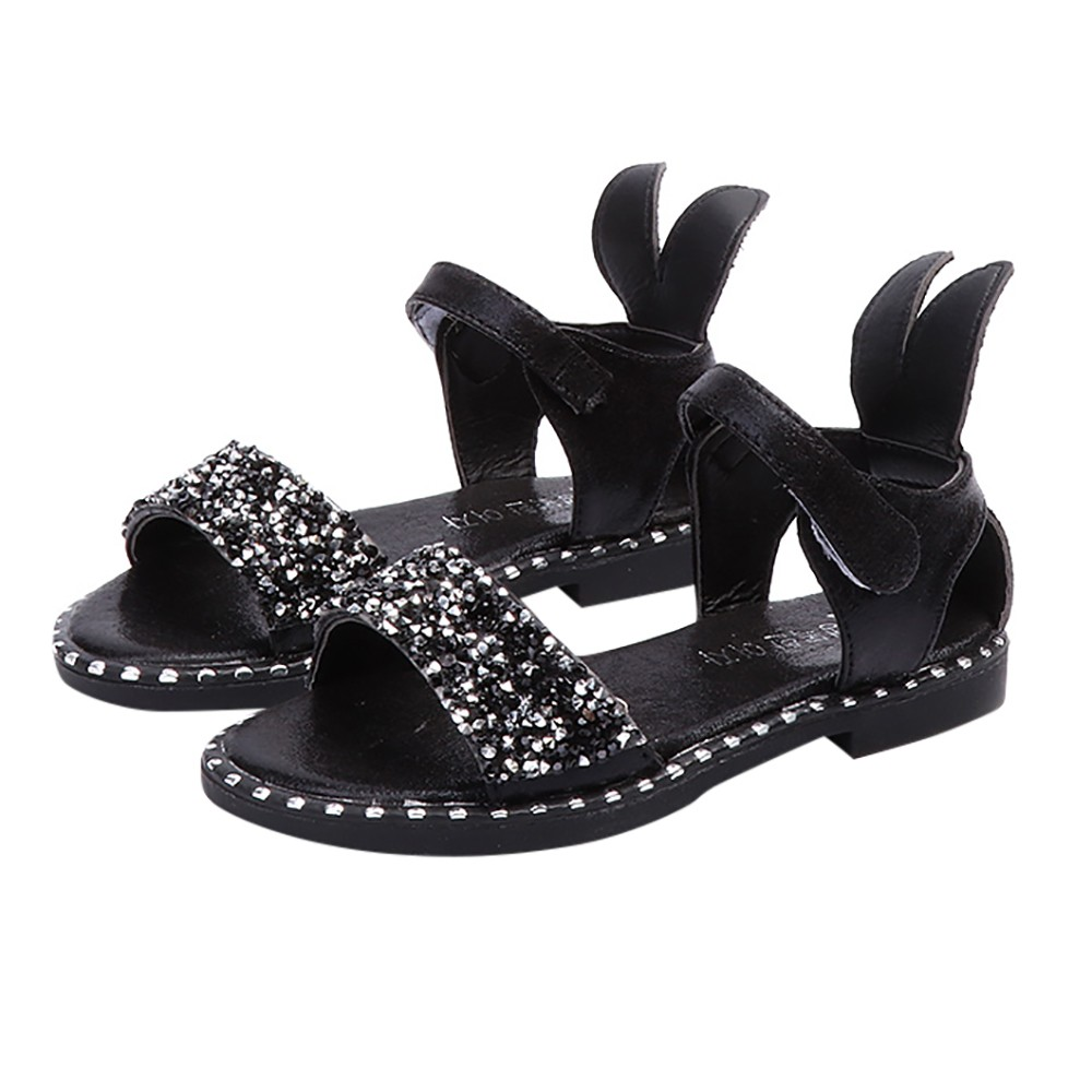 ARLONEET Baby Sandals Girls Rabbit Ear Crystal Princess Sandals Casual Roman Shoes for Girls 4 to 7 Years Drop Shipping 30S49