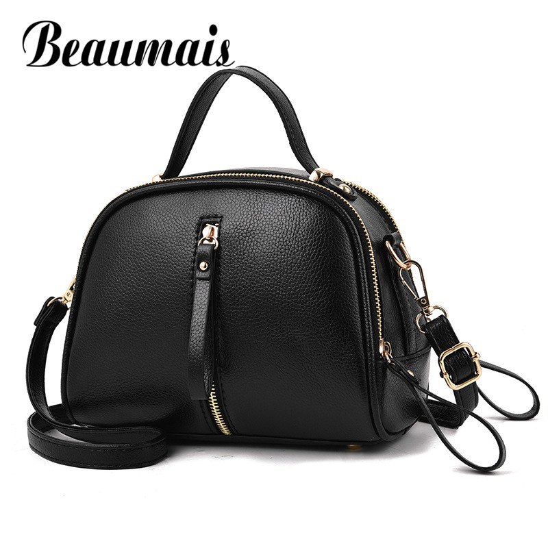 Beaumais New Arrival Wome Leather Handbag All-match Messenger Crossbody Bags For Women 2017 Solid Small Flap Bag Female DF0378