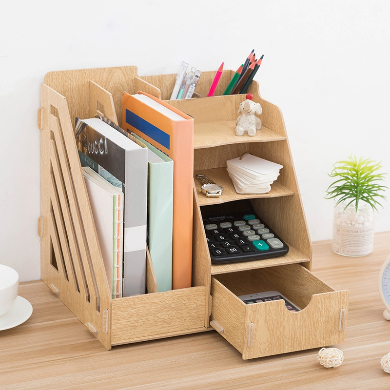 US $18.22 20% OFF|New Creative DIY Office Supplies Desktop Organizer  Bookshelf A4 Drawer Folder Shelf File Tray Desk Organizer on AliExpress