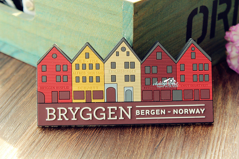 Bryggen Bergen Norway Tourist Travel Souvenir 3D Rubber Fridge Magnet