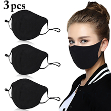 3Pcs Black Bilayer Cotton Mouth Mask Anti Haze Dust Washable Reusable Double Layer Dustproof Mouth muffle Winter Warm Mask