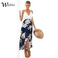 Weljuber Women Lace Dress Bohemian Split Dress Beach Boho Maxi Dress 2017 Summer High Quality Deep