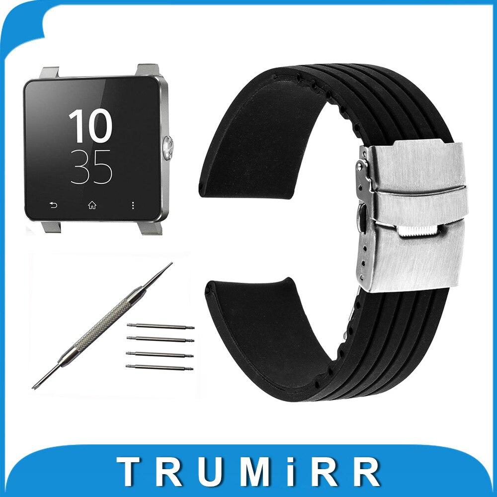 Prix pour 24mm Montre En Caoutchouc de Silicone Bande pour Sony Smartwatch 2 SW2 Remplacement Bracelet Bracelet Bracelet avec Fermoir En Acier Inoxydable Boucle