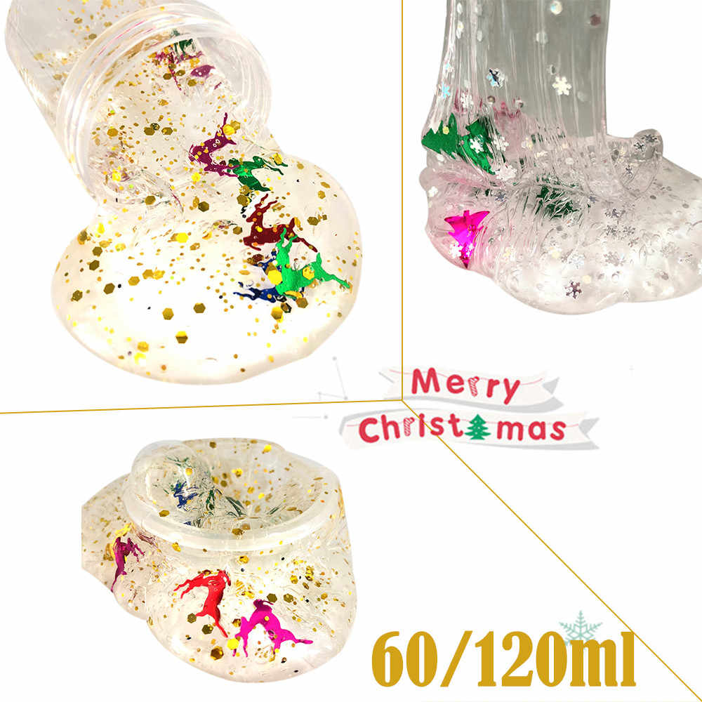 Fluffy Floam DIY Clear Slime Toys Christmas Snowflake Deer Cloud Slime Putty Scented Kids Clay Toy 60/120ml Dropshipping