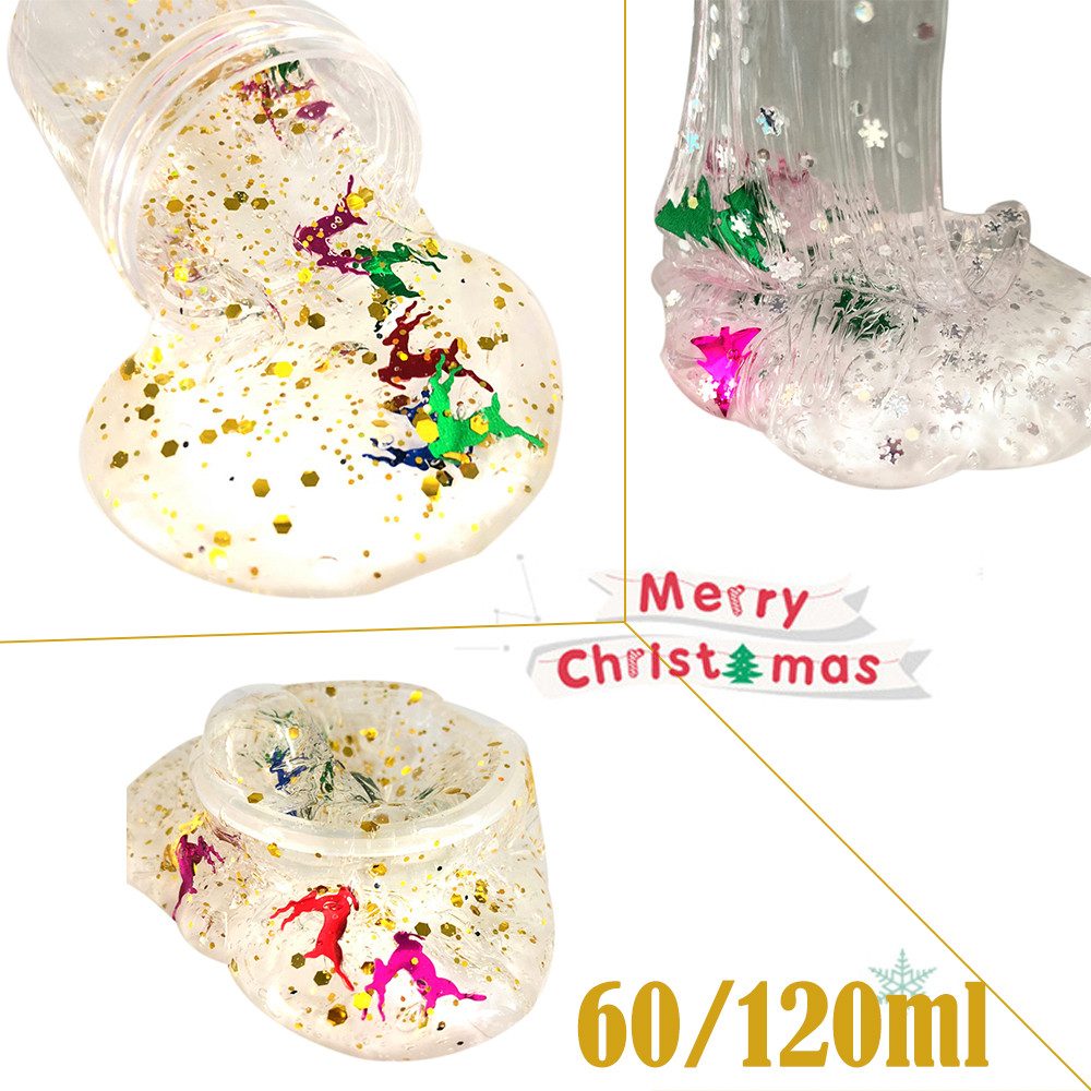 Fluffy Floam Diy Clear Slime Toys Christmas Snowflake Deer Cloud Slime Putty Scented Kids Clay Toy 60/120ml Dropshipping Modeling Clay Learning & Education