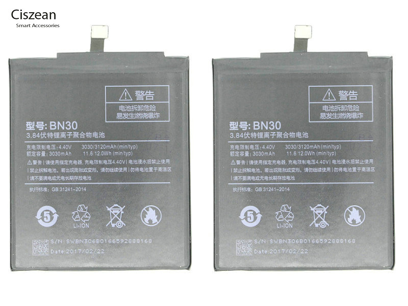 Ciszean Batteria 30-Replacement-Battery Mi Xiaomi Redmi 3120mah For Hongmi Redrice 4a/mi