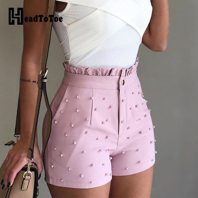 Women Summer High Waist   Shorts   Ladies Beading Frill Hem Casual   Shorts   Pantalones Cortos De Mujer