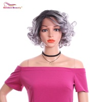 11 Short Curly Wig Synthetic Lace Front Wig 150% Density Black Grey Blonde Ombre Wigs For Women Hair Heat Resistant Fiber