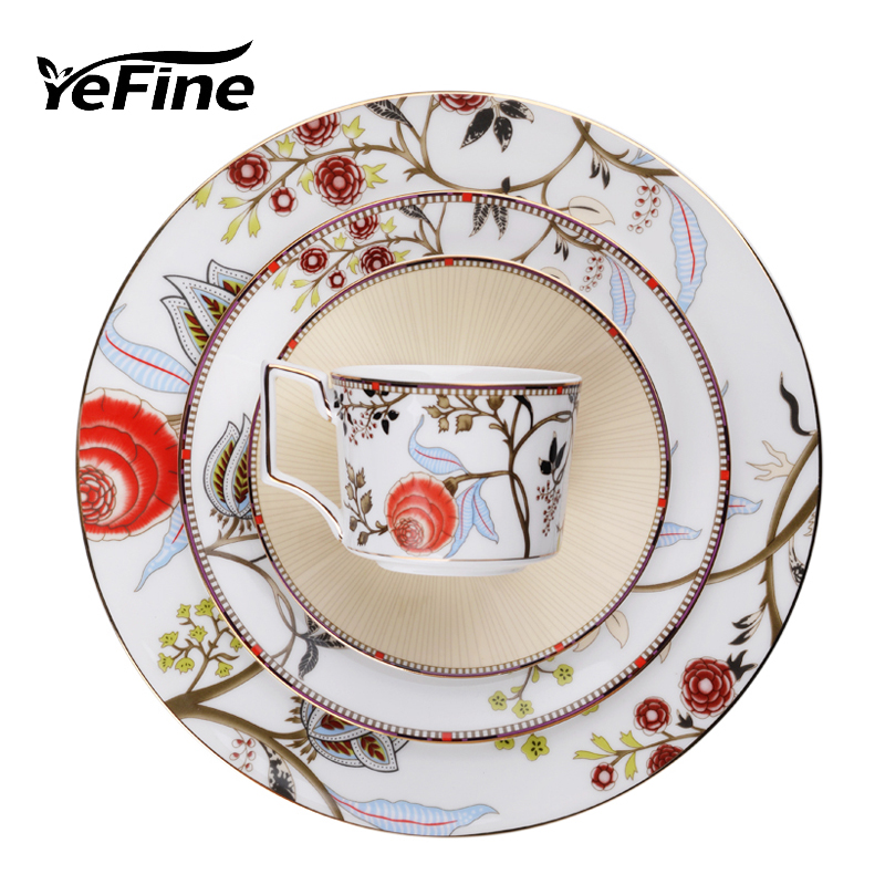 YeFine Luxury Bone China Dinner <font><b>Set</b></font> High Quality Ceramic Dinnerware <font><b>Sets</b></font> With Cup And Saucer Tableware Plates Porcelain Dishes