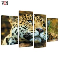 HD Print Framed 4PC Leopard Wall Pictures For Living Room Large Canvas Art Modern Animal Poster
