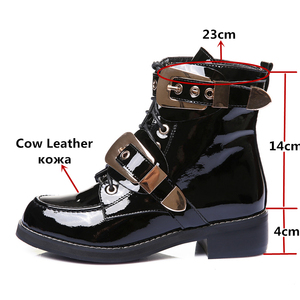 Image 2 - FEDONAS Brand Genuine Leather Golden Buckles Straps Thick Heel Ankle Boots Sexy Autumn Winter Motorcycle Snow Boots Shoes Woman