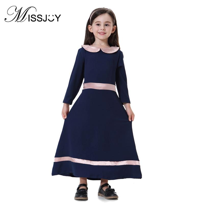 MISSJOY Muslim Dresses 2018 New Fashion girls abaya Long Sleeve Peter Pan Collar Middle East Dubai kaftan Maxi children dress