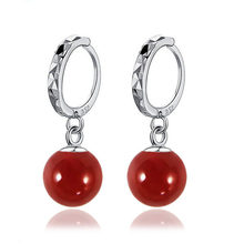Wholesale New Fashion 925 Sterling Silver Jewelry 8mm Balls Natural Coral Wedding Jewelry Dangle Earrings 3 Colors(China)