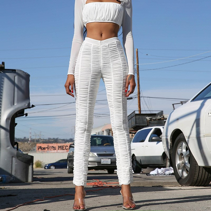 Sexy Outfits Women Summer Mesh   Pants   Party Nightclub Matching   Pants   Bodycon Pencil   Pant     Capris