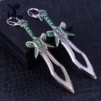 HEYu Jewelry Game Dota 2 Butterfly Sword Model Keychain Men Weapon Zinc Alloy Keyring Men Women Accessories Souvenir 1