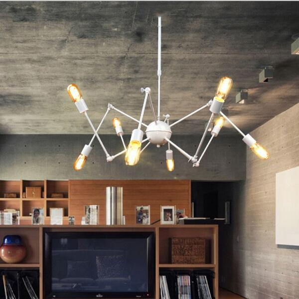Modern Loft Suspension Spider Pendant Lights With 6/8 Heads Industrial Style LED Pendant Lamp For Living Room Bar,OY17P41 цена и фото